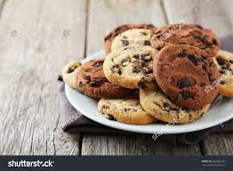 halloween chocolate background chocolate chip cookies on plate on stock photo 292506350