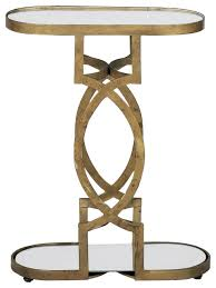 Side Accent Table Gabby Natasha Brass Mirrored Accent Table Transitional Side