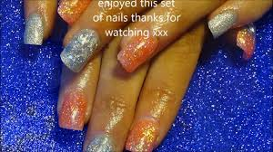 silver u0026 orange glitter acrylic nails naio products youtube