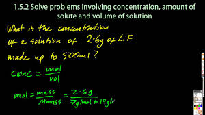 1 3 solve problems using concentration amount of solute and