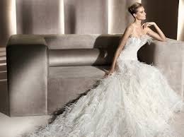 feather wedding dress comfortable look feather wedding dresses weddceremony