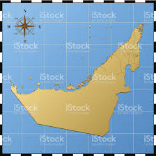 United Arab Emirates Map United Arab Emirates Map With Compass Rose Stock Vector Art
