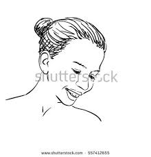 sketch girls face smiling looking down stock vector 557412655