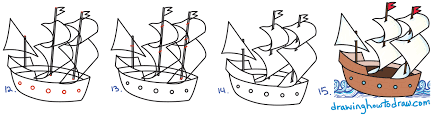 how to draw mayflower ship for thanksgiving easy step by