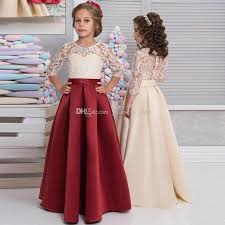floor length lace satin flower girls dresses 3 4 long sleeves red