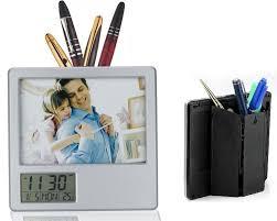 desk photo frame with digital display clock u0026 pen holder photo