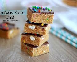 guilt free birthday cake bars recipe