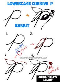 draw cartoon bunny rabbit lowercase letter easy