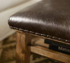 brown leather square ottoman caden leather square ottoman pottery barn