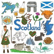 colorful travel concept of scotland symbols stock vector art
