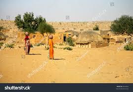 thar desert little village thar desert jaisalmer rajasthan stock photo 8049682