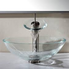 Clear Glass Bathroom Sinks - crystal clear glass vessel sink and waterfall faucet home