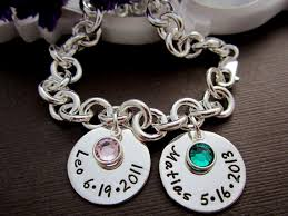 Mothers Bracelets With Names Two Baby Children Name W Birth Date Charm Bracelet Mother U0027s
