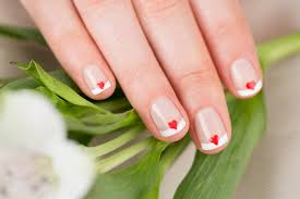 wedding nail art happy heart french manicure