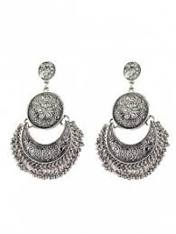 vintage earrings vintage engraved flower moon earrings silver earrings zaful
