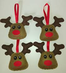 set of 4 rudolph reindeer felt fabric hanging tree