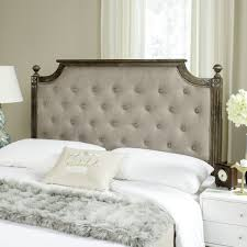 Headboards Rustic Wood Taupe Tufted Linen Headboard Headboards Furniture By