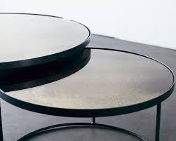 buy clear heavy aged mirror round nesting coffee table set online
