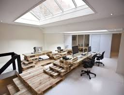 cool use of pallets to make an office sculpture cool office