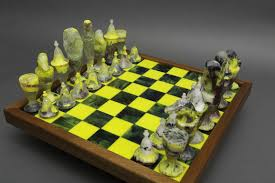 buy a hand made valley of the kings dichroic glass chess set made