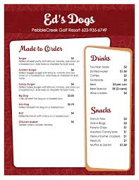 snack bar menu template pebble creek hoa ed s dogs menu