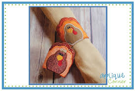 turkey napkin ring applique corner in the hoop thanksgiving turkey napkin rings