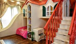 girls room that have a office up stairs turn the house into a playground fun slides designed for kids