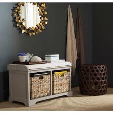 Wicker Storage Bench Safavieh Freddy Vintage Grey Storage Bench Amh5736f The Home Depot