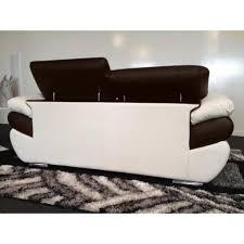 canape bicolore design canapé bicolore cuir 3 places marron et blanc rosy achat vente