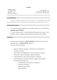 Job Objective In Resume by Paint Chemist Resume