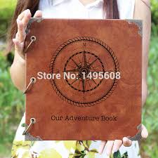 Personalized Wedding Albums Book Compass Leather Photo Album Our Adventure Book Personalized