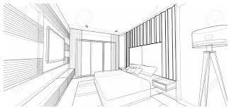 Interior Design Bedroom Drawings Interior Design Of Modern Style Bedroom 3d Wire Frame Sketch