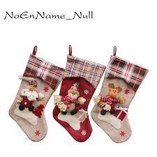 plaid santa claus sock gift bag noel