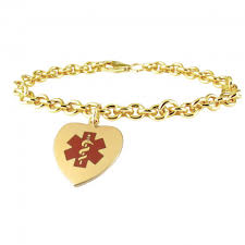 gold chain heart bracelet images Gold medical id bracelets necklaces american medical id jpg
