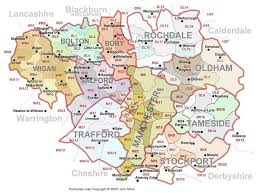 map of oldham manchester uk and beyond postcode map concept 2