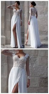 cheap wedding dress white lace side slit prom dresses cheap custom wedding