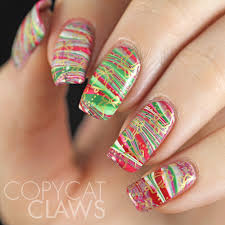 copycat claws hpb presents christmas water marble nail art