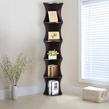Skinny Tall Bookshelf Amazon Com Go2buy 5 Tier Wood Round Wall Corner Shelf Slim