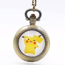 silver watch chain necklace images Pikachu genius pokemon go bronze black silver quartz pocket watch jpg