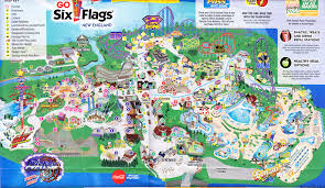 6 Flags Map Six Flags New England 2015 Park Map