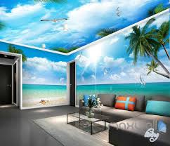 3d beach view starfish palm tree entire room wallpaper wall murals 3d beach view starfish palm tree entire room wallpaper wall murals art prints idcqw 000118