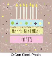 clip art vector of happy birthday cake card 15 fifteen year party