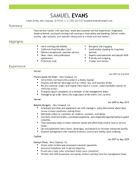 Exles Of Server Resume Objectives Fast Food Server Food Restaurant Resume Exle Emphasis 2 Expanded