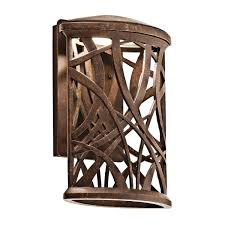 kichler outdoor lights 49249agzled maya palm energy efficient dark sky outdoor wall sconce
