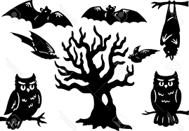 unique halloween silhouettes with owl bats and tree stock vector