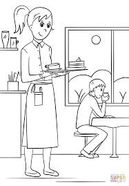 waitress coloring page free printable coloring pages