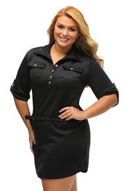 black plus size belted textured shirt dress curvyplus