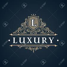 calligraphic luxury logo emblem elegant decor elements vintage