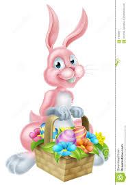 rabbit easter basket bunny rabbit with easter basket stock vector image 64663871