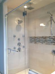 two tier shower niche with cream subway wall ceramic bathroom